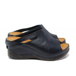 Анатомични дамски чехли /тип сабо/ от естествена кожа МИ 129-7 син | Дамски чехли на платформа