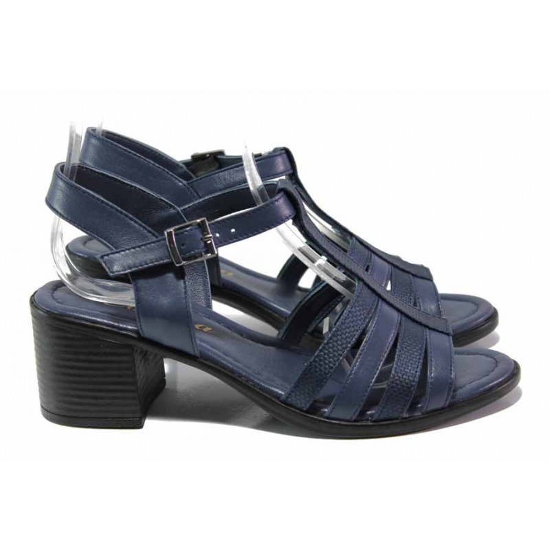 a7ffbcc45c5 Дамски сандали от естествена кожа МИ 9252-22 син | Дамски сандали на ток