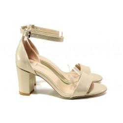 Анатомични дамски сандали МИ 220-36 бежов | Дамски сандали на ток