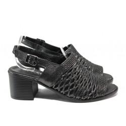 Дамски сандали от естествена кожа МИ 141-18 черен | Дамски сандали на ток