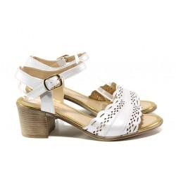 Дамски сандали от естествена кожа МИ 413-140 бял   Дамски сандали на ток