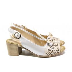 Дамски сандали от естествена кожа МИ 440-144 бежов | Дамски сандали на ток