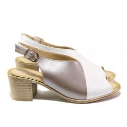 Дамски сандали от естествена кожа МИ 955-140 бял-бежов | Дамски сандали на ток