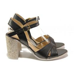 Комфортни дамски сандали на висок ток МИ 1017-8 графит | Дамски сандали на ток