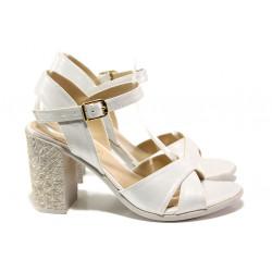 Комфортни дамски сандали на висок ток МИ 1017-5 бял | Дамски сандали на ток