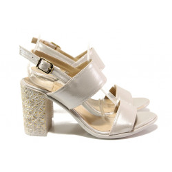 Комфортни дамски сандали на висок ток МИ 1016-7 бежов | Дамски сандали на ток
