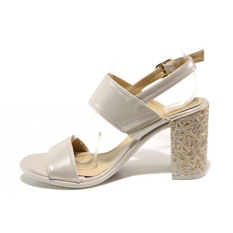 ab7d693df22 Комфортни дамски сандали на висок ток МИ 1016-7 бежов | Дамски сандали на  ток