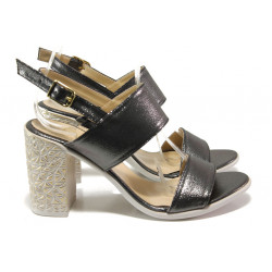 Комфортни дамски сандали на висок ток МИ 1016-8 графит | Дамски сандали на ток