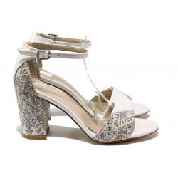 Комфортни дамски сандали на висок ток ФА 546-1 бял   Дамски сандали на ток
