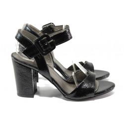 Комфортни дамски сандали на висок ток ФА 146-901 черен лак | Дамски сандали на ток