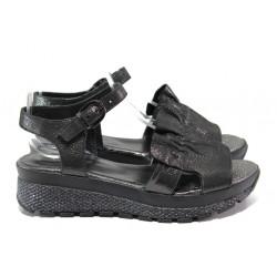 Дамски сандали от естествена кожа МИ 401-61 черен | Равни дамски сандали