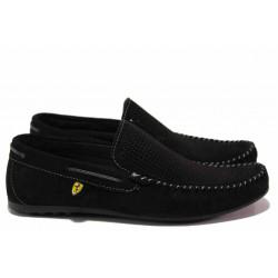 Анатомични мъжки мокасини от естествен набук МИ 506 черен | Мъжки ежедневни обувки