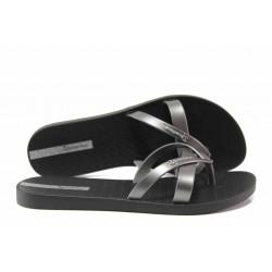 Равни дамски чехли Ipanema 81805 черен-сребро | Бразилски чехли