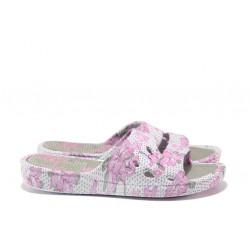 Дамски джапанки с цяла лента АБ 06-19 сив-розов | Дамски джапанки и чехли