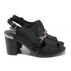 Дамски сандали от естествена кожа МИ 536-65 черен | Дамски сандали на ток