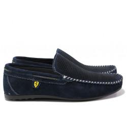 Анатомични мъжки мокасини от естествен набук МИ 506 син   Мъжки ежедневни обувки