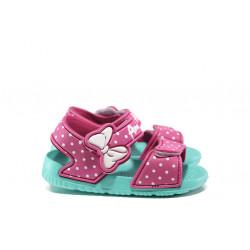 Детски сандали с лепенки АБ 17-19 розов-зелен 24/29  Детски гумени сандали