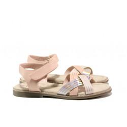 Анатомични детски сандали със стелка от естествена кожа АБ 23-19 розов 31/35 | Детски сандали