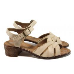 Анатомични дамски сандали от естествена кожа НЛ 202-7251 бежов | Български сандали на ток