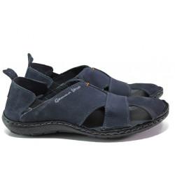 Български ортопедични сандали от естествен набук МЙ 71189 т.син | Мъжки сандали