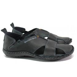 Български ортопедични сандали от естествена кожа МЙ 71189 черен | Мъжки сандали