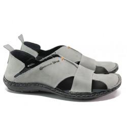Български ортопедични сандали от естествена кожа МЙ 71189 сив | Мъжки сандали