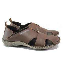 Български ортопедични сандали от естествена кожа МЙ 71189 кафяв | Мъжки сандали