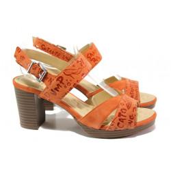 Анатомични дамски сандали от естествен велур Caprice 9-28321-32 оранжев | Немски сандали на ток