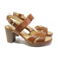 Анатомични дамски сандали от естествена кожа Caprice 9-28321-32 коняк | Немски сандали на ток