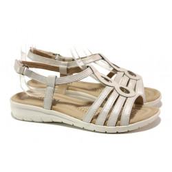 Анатомични дамски сандали от естествена кожа Caprice 9-28601-32 бял | Немски чехли и сандали