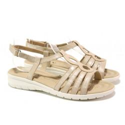 Анатомични дамски сандали от естествена кожа Caprice 9-28601-32 бежов | Немски чехли и сандали
