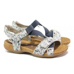 Дамски сандали от естествена кожа с велкро лепенки Remonte R3257-81 бял-син | Немски сандали