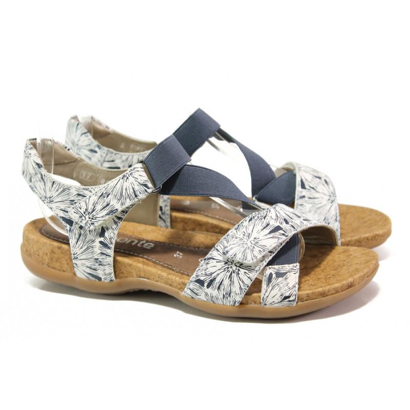2dab33e9187 Дамски сандали от естествена кожа с велкро лепенки Remonte R3257-81 бял-син  | Немски сандали