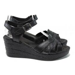 Анатомични български сандали от естествена кожа НЛ 202-96145 черен | Дамски сандали на платформа