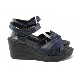 Анатомични български сандали от естествена кожа НЛ 202-96145 син | Дамски сандали на платформа