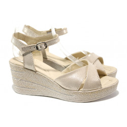 Анатомични български сандали от естествена кожа НЛ 240-96145 бежов сатен | Дамски сандали на платформа