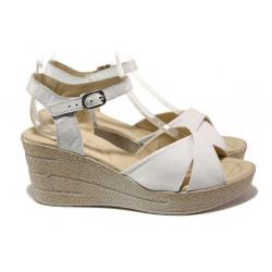 Анатомични български сандали от естествена кожа НЛ 240-96145 бял | Дамски сандали на платформа