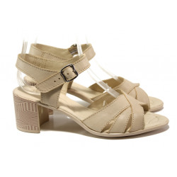 Анатомични български сандали от естествена кожа НЛ 304-527 сахара | Дамски сандали на среден ток