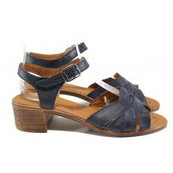 Анатомични български сандали от естествена кожа НЛ 202-7251 син | Дамски сандали на среден ток