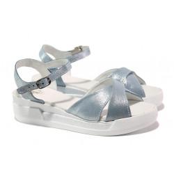 Анатомични български сандали от естествена кожа НЛ 240-8218 океан сатен | Равни дамски сандали