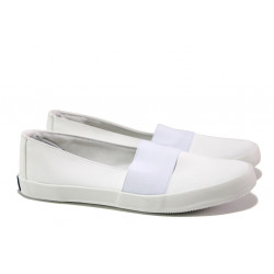 Дамски спортни обувки /тип еспадрили/ АБ 75-12 бял | Равни дамски обувки
