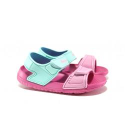 Детски сандали с лепенки АБ 15-19 зелен- розов 30/35 | Детски гумени сандали