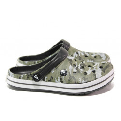 Юношески чехли-сандали /тип крокс/ АБ 02-19 зелен маскировъчен | Дамски гумени чехли