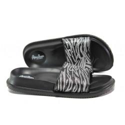 Дамски джапанки с цяла лента АБ 08-19 черен-сребро   Дамски джапанки и чехли