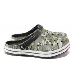 Мъжки чехли-сандали /тип крокс/ АБ 01-19 зелен маскировъчен | Мъжки джапанки и чехли
