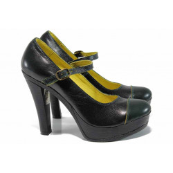 Анатомични български обувки от естествена кожа НЛ 200-7903 зелен | Дамски обувки на висок ток