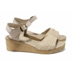 Анатомични български сандали от естествена кожа НЛ 239-18206 бежов | Дамски сандали на платформа