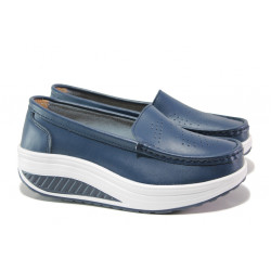 Комфортни дамски мокасини от естествена кожа ФР 339 син | Дамски обувки на платформа