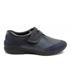 Дамски ортопедични обувки от естествена кожа SOFTMODE Bossa Cara син | Равни дамски обувки