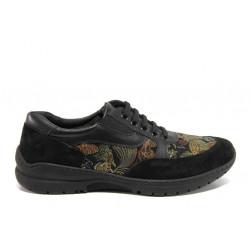 Дамски ортопедични обувки от естествена кожа SOFTMODE 1909 Mia черен цветя | Равни дамски обувки